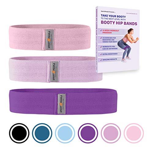 Sport2People esercizio hip fascia fasce di resistenza allenamento per gambe e glutei – Best booty set per donne – Circle passanti per allenamento, crossfit, palestra, fitness (set di tutti i colori)