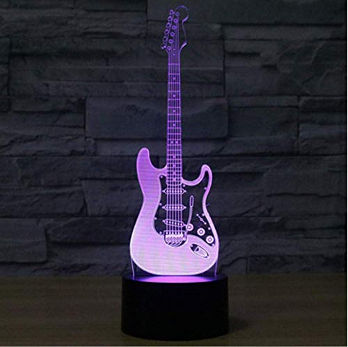 3D LED Night Light Electric Guitar with 7 Colors Light for Home Decoration Lamp Amazing Visualization Optical Illusion