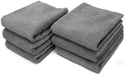 S T INC Microfiber Fitness Exercise Home Gym Towels 360 GSM 6 Pack 16 Inch x 27 Inch Grey product image