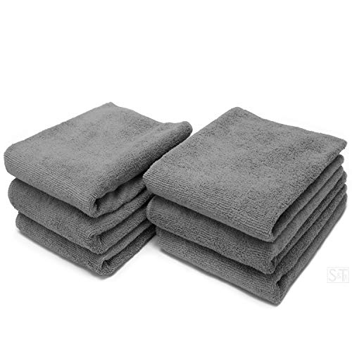 S&T INC. Microfiber Fitness Exercise Home Gym Towels, 360 GSM, 6 Pack, 16-Inch x 27-Inch, Grey