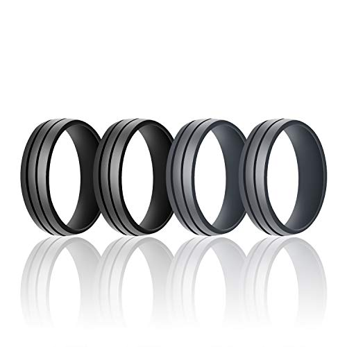 SANXIULY Mens Silicone Wedding Ring&Rubber Wedding Bands for Workout and Active Athletes Width 8mm Pack of 4 Size 12