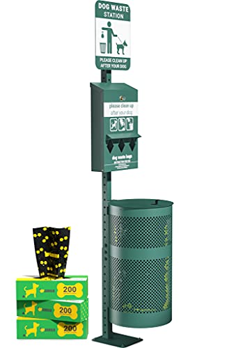 UPGORILO Pet Waste Station - 600 Dog Poop Bags and 50 Can Liners - Original Glow in The Dark Dog Waste Station with Dog Poop Sign, Triple Storage Bag Dispenser and Outdoor Trash Can with Lid