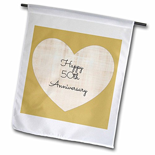 3dRose fl_221903_1'Happy 50Th Anniversary with Gold Colored Heart Background Garden Flag, 12 x 18