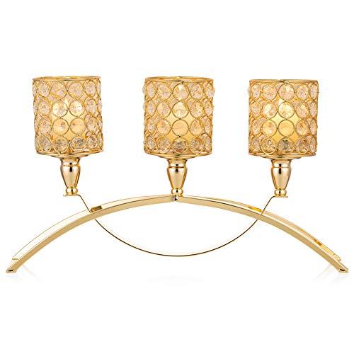 Sziqiqi Candelabros de Cristal, Portavelas de Oro con Cuentas de Cristal con 3 Vástagos en Soporte Cilíndrico, para Exhibición de Velas Centro de Mesa para Decoración del Hogar, Cilindro
