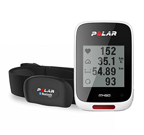 Polar M450 HR - Ciclocomputador con GPS, sensor cardíaco H7 incluido, color blanco