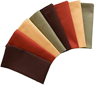 Natco Fall Cloth Napkins, Set of 8 in Warm Harvest Colors of Brown, Green, Gold and Rust for Thanksgiving and Fall Table Decorating, Reusable Fabric