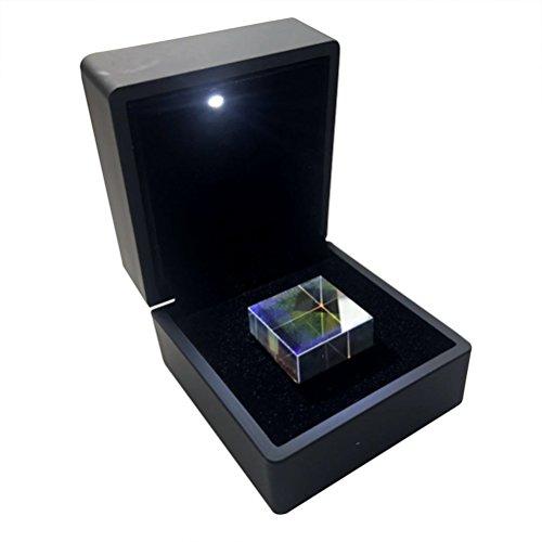 UKCOCO Würfel aus optischem Glas, Prisma mit Box, Maße 2,3 x 2,3 x 2,3 cm, für Lehrzwecke oder zur Dekoration