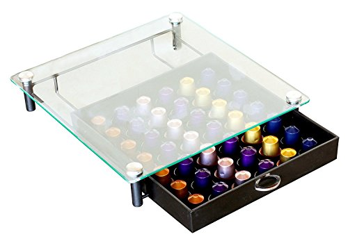 DecoBros Crystal Tempered Glass Nespresso OriginalLine Storage Drawer Holder for Capsules