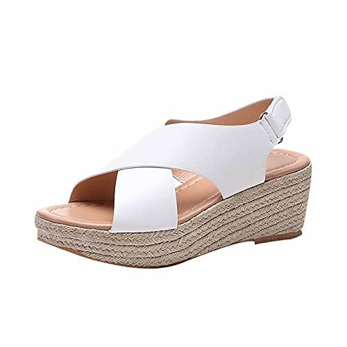 Sandale compensée pour Femmes Sandales compensées Plates à Bout Ouvert et à Brides croisées pour Femmes Sandale Plate-Forme à Bride arrière pour Femme Sandales compensées Espadrilles pour Femmes
