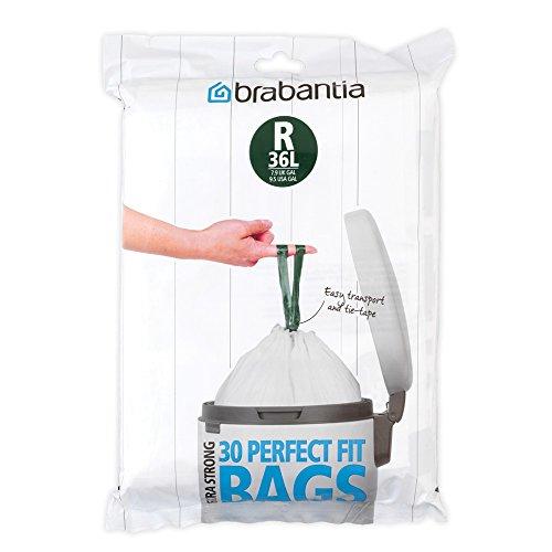 Brabantia - 115646 - Sacs poubelle PerfectFit pour Bo Touch Bin, 36L distributeur, code R - 30 Pièces