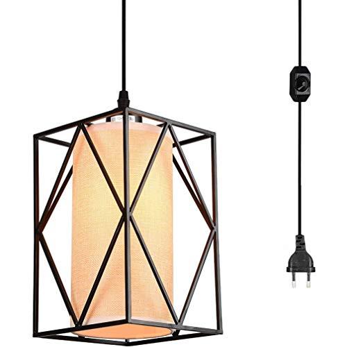 ZZT Lámpara Colgante Luz Colgante Industrial con Interruptor Regulable, lámpara Colgante de lámpara de Tela de Cilindro rústico con tapón de la UE y Cable de 16,4 pies