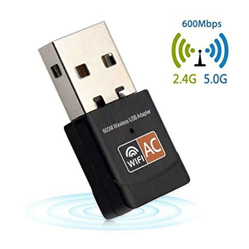 Adaptador WiFi USB Inalámbrico, Adaptador WiFi USB 600Mbps Adaptador WiFi 5 GHz Antena USB Ethernet PC Adaptador Wi-Fi LAN WiFi Dongle AC WiFi Receptor
