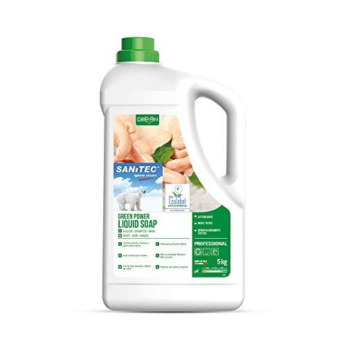 Sanitec Green Power Jabón Líquido, Ecológico, Cuerpo y Cabello, Delicado Perfume Floral, 5 kg