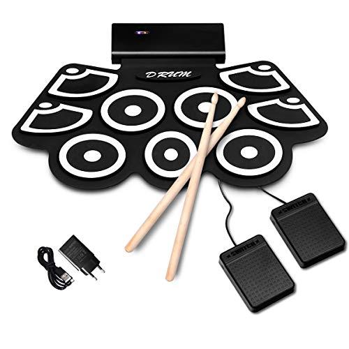 COSTWAY 9 Pads E-Drum, elektronisches Schlagzeug Set mit Bluetooth, Roll-Up-Trommel inkl. Pedale und Drumsticks für Kinder und Anfänger, schwarz