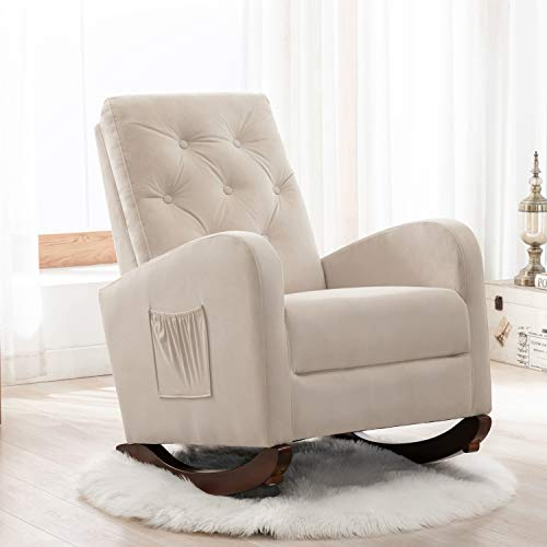Rocking Accent Chair, Tufted Upholstered Luxury Velvet Lounge Chair, Glider Rocker Armchair with Side Pocket for Nursery, Living Room, Bedroom, Solid Wood Frame for 300 lbs Support (Sandy Beige)