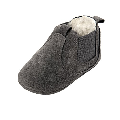 ESTAMICO Baby Jungen Mädchen Freizeit Winter Sneakers Warm Schuhe Grau 6-12 Monate