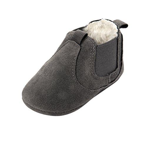 ESTAMICO Baby Jungen Mädchen Freizeit Winter Sneakers Warm Schuhe Grau 12-18 Monate