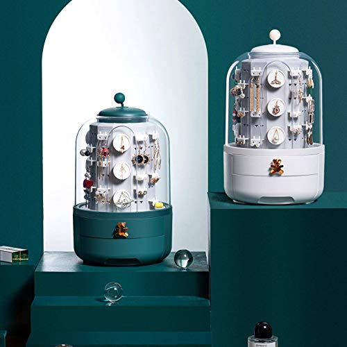 Scarlett - Caja de joyería para pendientes, 5 capas, 360 °, giratoria, color verde