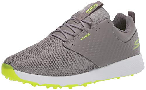 Skechers Men's Elite 4 Prestige Relaxed Fit Waterproof Golf Shoe, Gray/Lime, 10 M US