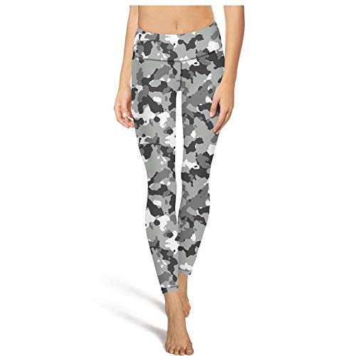 Medssii Womens Camouflage Black White Yoga Pants High Waist Yoga Leggings with Pockets