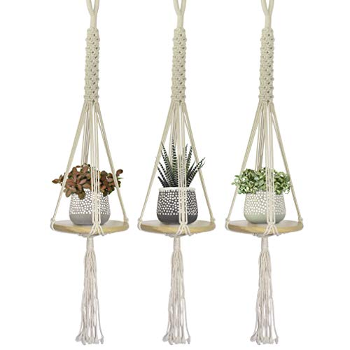 23 Bees, Macrame Hanging Planter Shelf, Indoor Plant Holder, 3 Sets Mini Round Floating Circular Shelves, Handcrafted Wood with Rope and Hanger