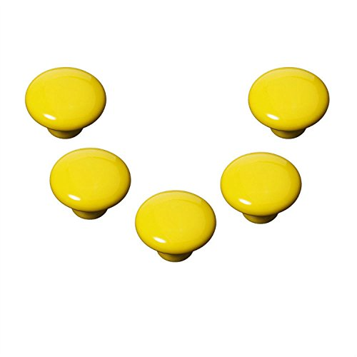 FBSHOP(TM) Yellow 5pcs 33mm Chinese Style Round Shape Single-hole Ceramic Drawer Pulls Lovely Pulls and Knobs for Wardrobe,Kitchen,Bedroom Door,Cupboard,Dresser,Cabinet