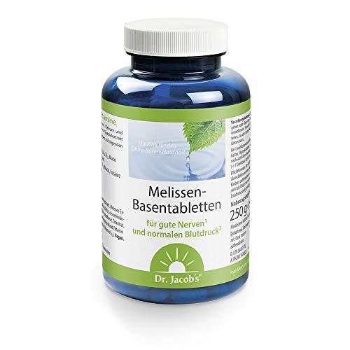 Dr. Jacob's Melissen-Basentabletten Dose 250 g I für gute Nerven und normalen Blutdruck I mit Melissenextrakt, Magnesium, Kalium, Zink, Citraten und 10 Vitaminen I 50 Portionen