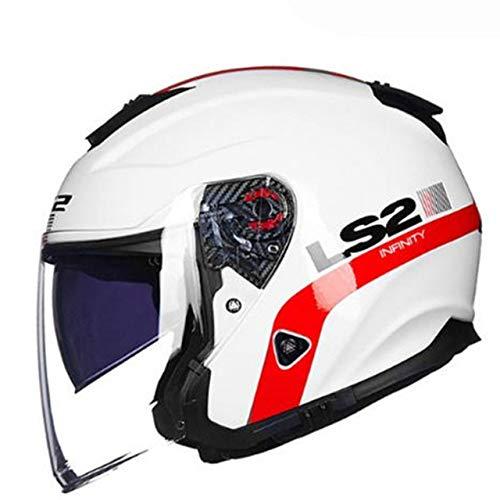 MYSdd Half Face Vintage Motorradhelm Fiberglas Retro Racing Motorradhelm 3/4 Helm vorne und hinten Entlüftungsöffnungen - 13 X XXXL