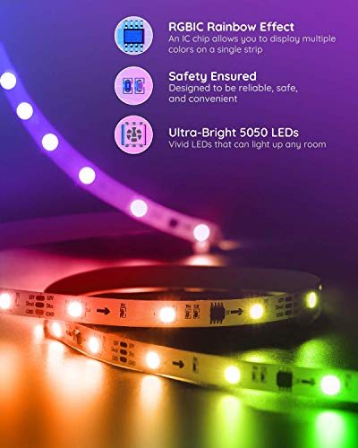 Govee Rgbic Led Strip Lights, App and Remote Control for Bedroom, Living Room, Kitchen, and Party 3