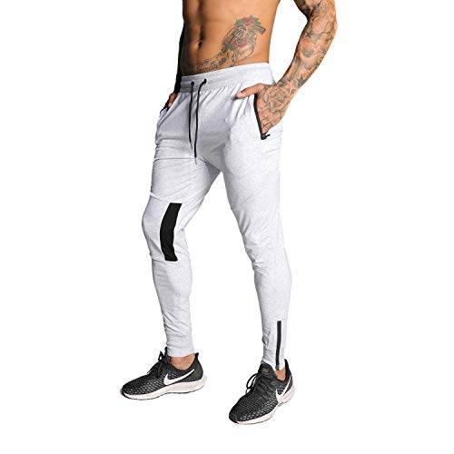 MAIKANONG Mens Tapered Joggers Basic Casual Gym Athletic Workout Bodybuilding Sweatpants Outdoor Nite Running Pants Grey