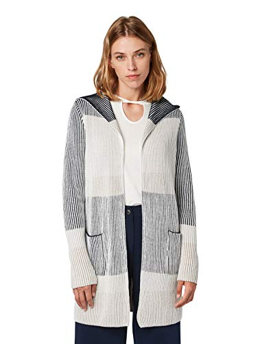 TOM TAILOR Damen Colourblock Strickjacke, Blau (Sky Captain Blue 10668), M