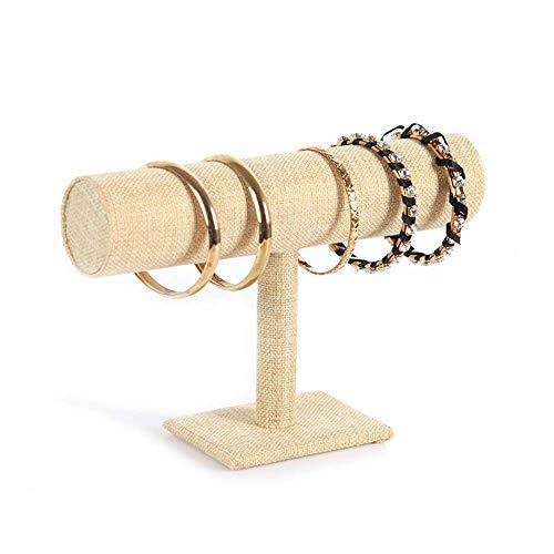 Nfudishpu Schmuckständer Damen 2ps / Pack T-Bar Armband Halskette Stirnband Schmuckständer für die Organisation zu Hause Machen Sie Ihren Schmuck sauberer (Farbe: Sackleinen, Größe: 23,5 * 14 cm)