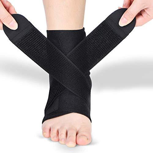 Doact Fußbandage Sprunggelenkbandage Fußgelenkstütze Knöchelschutz mit PE Board Stärke stabilisieren und Haken und Schlaufe Fußgelenkbandage für Männer und Frauen Knöchelverstauchung Arthritis (1pcs)