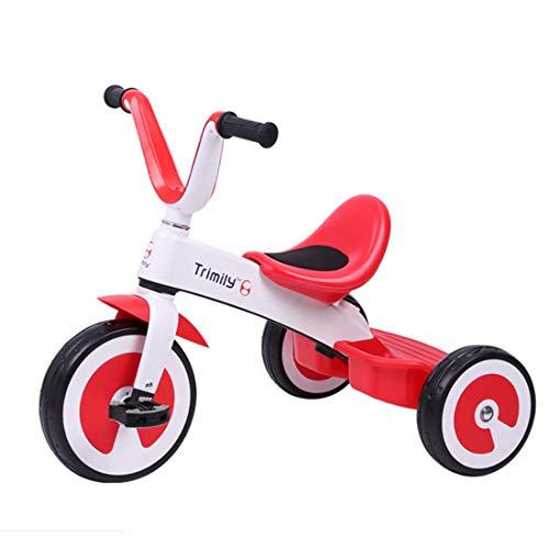 MYMGG Einstellbarer Kindersitz mit Dreirad Das 3-Rad-Kinderfahrrad ist für Kinder von 2-6 Jahren geeignet,Red