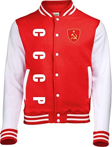 Aprom-Sports CCCP Sowjetunion Russland College Jacke - EM WM Sweat Sport Trikot Look (Rot, S)