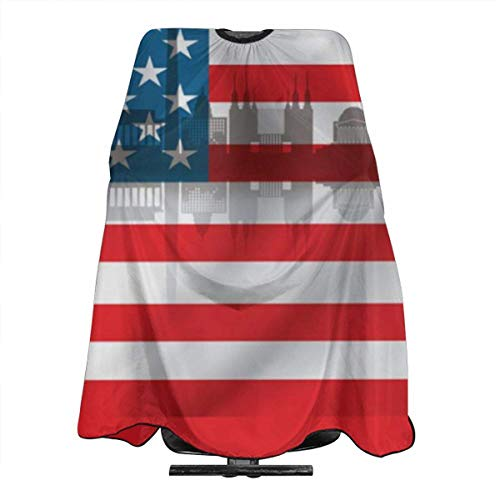 Hair Cutting Cape,Drapeau Des États-Unis Avec City Skyline Barber Hairdressing Cape, Unisex Hairdressing Capes For Home Holiday Gifts,140x168cm
