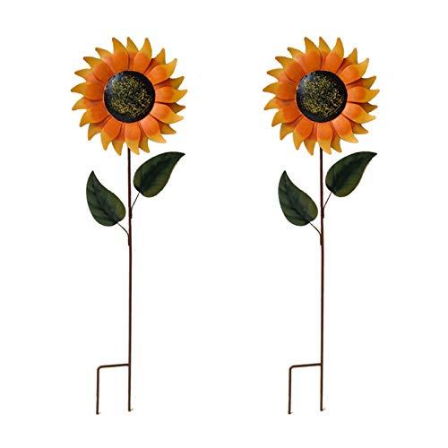 ROSEBEAR Girasol de metal 1 par de metal flor palo girasol decoración para patio césped patio jardín estaca