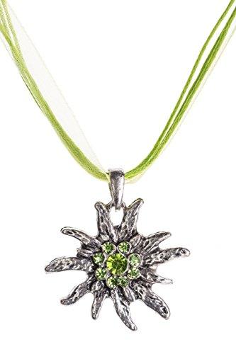 Trachtenkette Edelweiss Trachtenschmuck - Trachten Kette mit feinem Strass in div. Farben - Halskette für Dirndl und Lederhosen (Grün)
