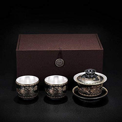 Juego de tazas de té de plata de cerámica de tetera de plata Juego de té de café de agua caliente tradicional chino Gongfu antiguo para regalo Adultos Mujeres (Color: 3 Piezas Rojo, Tamaño: Gratis)