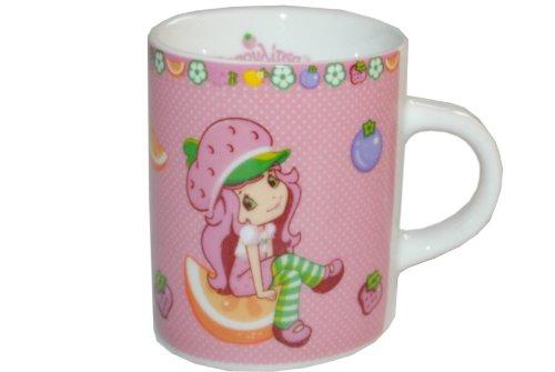 alles-meine.de GmbH Henkeltasse -  Emily Erdbeere  - klein - Keramik Trinktasse Tasse Porzellantasse / Erdbeer Mädchen rosa pink - Kindertasse - Espresso Tassen