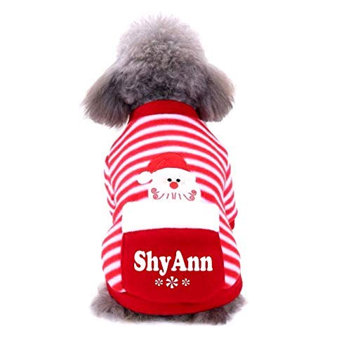 Dog Christmas Pajamas with Name SMALL Peppermint Stripe
