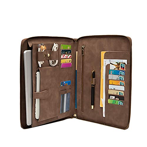 Men iPad Portfolio Case for 9.7 inch, Professional Tablet Cases Business Briefcase Padfolio, Travel Carrying Case with Secure Zippered Closure, Ideal for Right or Left-Handed (Coffee)