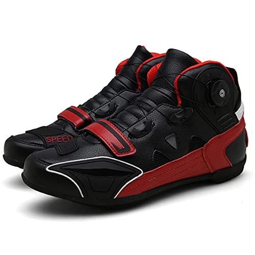 JQKA Zapatillas De Montacargas De Motocicletas Botas Protectoras De Motocross De Calle para Hombres, Zapatos Informales Transportables Transportables(Size:43,Color:Rojo)