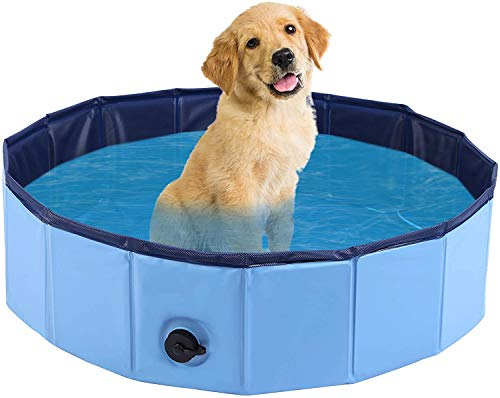 Monodeal - Piscina para perro, bañera de perro plegable, más resistente, piscina infantil | para jardín, patio o cuarto de baño M 80 x 20 cm (azul)