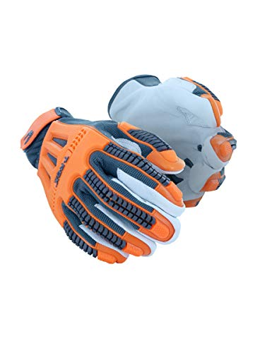 MAGID TRX744 Windstorm Series Impact Gloves | ANSI A4 Cut Resistant Hi-Viz Safety Work Gloves with Cool Mesh Venting, Orange/Grey, Size 9/L (1 Pair)