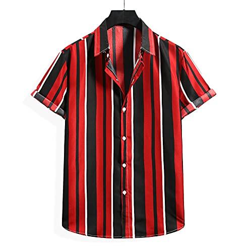 Camisa Hombre A Rayas Verano Fresco Cómodo Hombre Manga Corta Urbano Moderno Vacaciones Casual Hombres Camisa De Playa Transpirable Hombres Camisas De Ocio D-004 XL