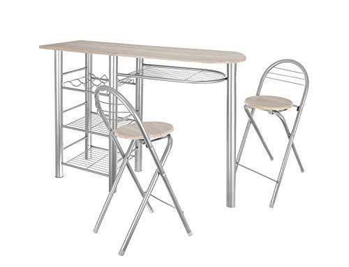 FHU Juego de mesa de bar con 2 taburetes de bar, mesa de comedor, taburete plegable con respaldo y reposapiés, color plateado