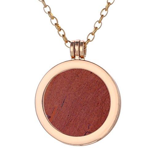 Morella Damen Halskette Gold 70 cm Edelstahl und Anhänger mit Edelstein roter Jaspis Coin 33 mm Chakren Scheibe in Schmuckbeutel