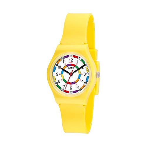 Bunte Plastik Analog Quarz Uhr für Jugendliche 30M wasserdicht (Gelb)