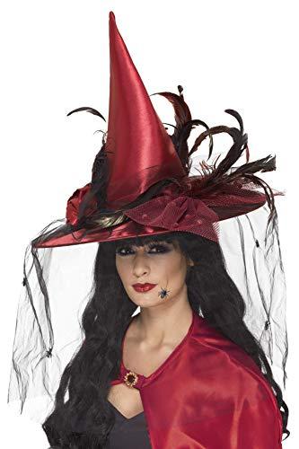 Smiffys Damen Hexen Hut mit Netz und Federn, One Size, Rot, 36720